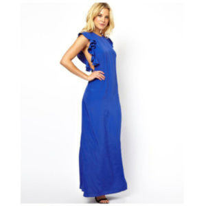 NWT ASOS Blue Maxi Dress with Ruffle Sleeves Sz 14